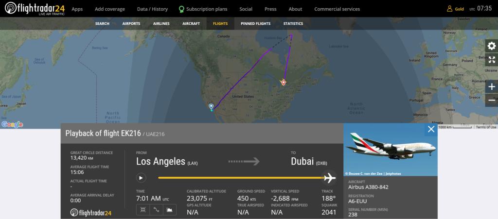 Emirates flight EK216 diverted to Toronto due to medical emergency