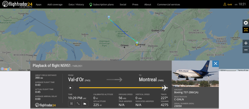 Nolinor flight N5951 from Val-d'Or to Montreal suffered engine issue