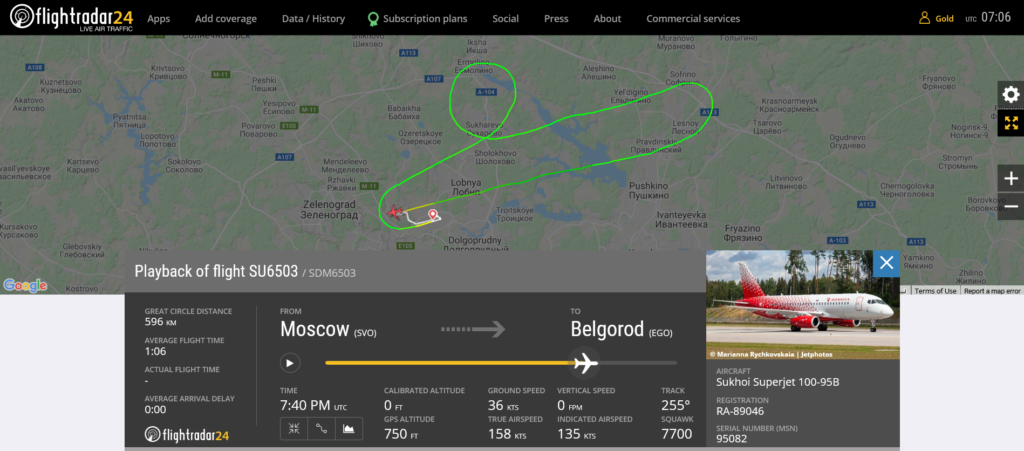 Aeroflot flight SU6503 declared an emergency and returned to Moscow due to technical issue
