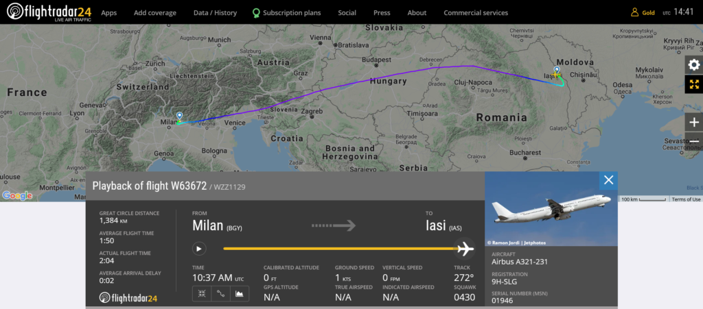 Wizz Air flight W63672 from Milan to Iasi suffered navigation system issue