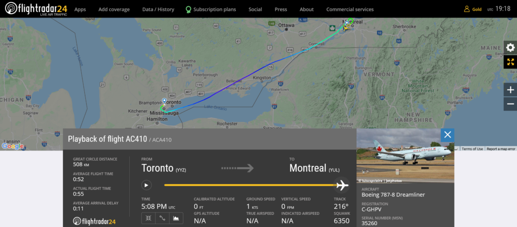 Air Canada flight AC410 from Toronto to Montreal suffered cracked windshield