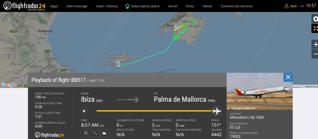 Iberia flight IB8517 from Ibiza to Palma de Mallorca suffered landing gear issue