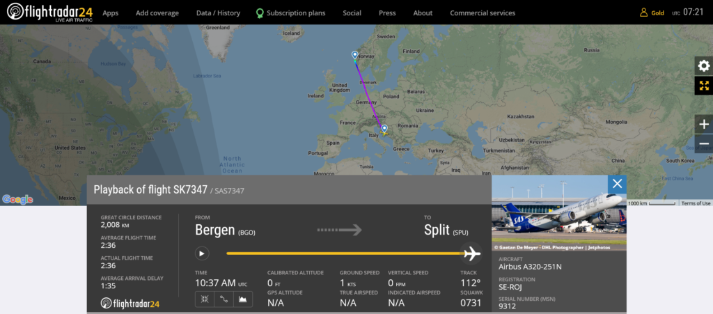 SAS flight SK7347 from Bergen to Split suffered tail strike on landing