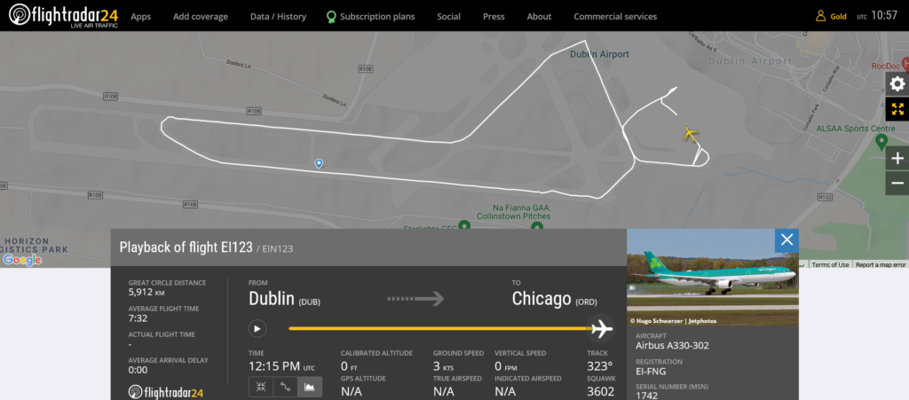 Aer Lingus flight EI123 from Dublin to Chicago rejected takeoff