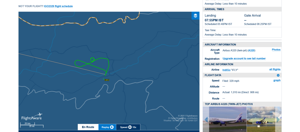 IndiGo flight 6E2329 returned to Guwahati due to bird strike