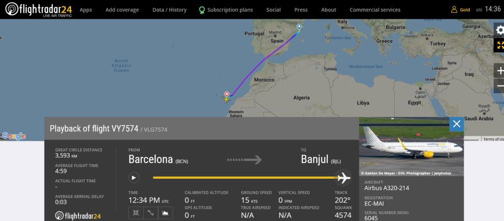 Vueling flight VY7574 from diverted to Gran Canaria due to disruptive passenger