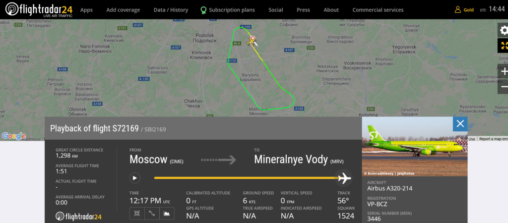 S7 Airlines flight S72169 returned to Moscow due to bird strike