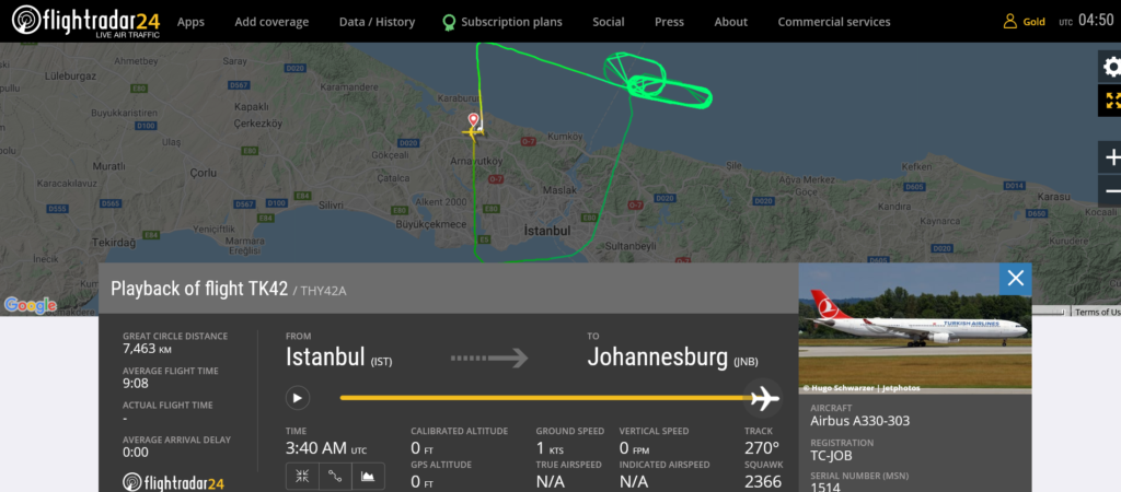 Turkish Airlines flight TK42 returned to Istanbul due to engine issue