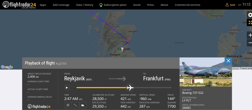 KlasJet flight KLJ2703 declared emergency and diverted to Edinburgh due to technical issue